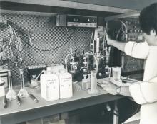 Scientist at the Environment Laboratories, Monaco. Date unknown. Please credit IAEA