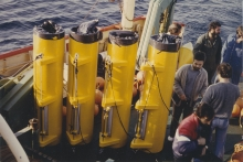 Part of research programmes ECOMARGE (ECOsystèmes de MARGE continentale), in the Gulf of Lion and DYFAMED (Dynamique des Flux Atmosphériques en Méditerranée) in the Ligurian Sea. 1986 (date uncertain). Please credit IAEA.