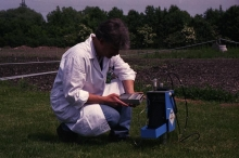 Scientist demonstrating the Neutron Moisture Probe to measure soil-water balance at the IAEA laboratory in Seibersdorf near Vienna. May 1999. Please credit IAEA/GAGGL Klaus