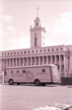 Mobile radioisotope lab truck in front of the customs office building in the Port of Manila. March 1960. Please credit IAEA/HAEUPL Josef