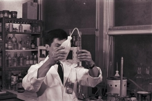 Staff member at the laboratories. 1966. Please credit IAEA