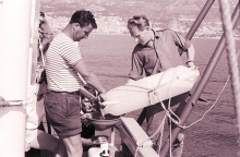 Scientists from the IAEA laboratories in Monaco collect samples of sea water and fresh plankton from the Mediterranean for studies about the effects of radioactivity on the sea and marine life. 1966. Please credit IAEA