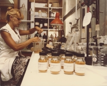 A scientist prepares certified reference materials at the IAEA Environment Laboratories in Monaco. 1978. Please credit IAEA
