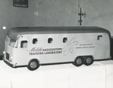 A model of one of the two self-contained mobile radioisotope laboratories donated to the IAEA by the USA. The laboratories were specially designed by the Oak Ridge Institute of Nuclear Studies to provide the means for basic training in radioisotope techniques at a cost of $85,000 for both. 1958. Please credit IAEA