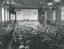 The conference was organised jointly by the IAEA and UNESCO at Monaco's Oceanographic Museum on 16-21 November 1959 and was attended by nearly 300 scientists from 31 countries. On the podium from left to right: William Sterling Cole (IAEA Director General), H.S.H. Prince Rainier of Monaco and Vittorino Veronese (UNESCO Director General). 1959. Please credit IAEA.