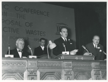 A scientific conference on the disposal of radioactive waste held in Monaco by IAEA and UNESCO. On the podium from left to right: William Sterling Cole (IAEA Director General), H.S.H. Prince Rainier of Monaco and Vittorino Veronese (UNESCO Director General). 1959. Please credit IAEA.