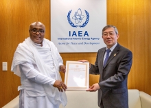 The new Resident Representative of Ethiopia to the IAEA, HE Mr Zenebe Kebede Korcho presented his credentials to Acting Director General Mr Dazhu Yang at the Agency headquarters in Vienna, Austria, on Tuesday, 25 February 2020.