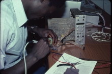 Training to enhance repair and maintenance procedures and thereby improve the infrastructure on which research programmes depended, as the frequent breakdown of electronic equipment in developing countries due to an erratic electric supply was a hindrance to the use of advanced techniques and could be very damaging to microprocessor-based equipment. 1984-1986. Please credit IAEA/DAGLISH James