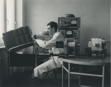 In the Standardisation Section at the IAEA laboratory in Seibersdorf. October 1961. Please credit IAEA