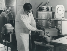 Staff member, Maurice Petel at the X-ray proportional counter in the lead house used for the standardization of electron capture nuclides.  April 1964. Please credit IAEA