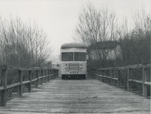 Crossing a wooden bridge on the border between Yugoslavia and Greece, April 1959 (today North Macedonia – Greece border). The Mobile Isotope Laboratory was sent to Athens to help with research in disease diagnosis at the Isotope Laboratory of the Alexandra Hospital.  April 1959. Please credit IAEA