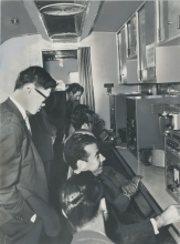 Professors of the University of Nuevo León carrying out experiments in radioisotope techniques. March 1960. Please credit Mexican Nuclear Energy Commission