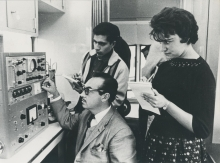 Prof. Armando López Martin del Campo (seated), Director of the Department of Research at the University of Guanajuato, lecturing students on the use of a geiger counter installed in the mobile laboratory. 18 February 1960. Please credit UN Photo/Yutaka Nagata