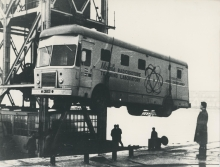 The first IAEA mobile isotope laboratory being shipped to Seoul for training in radioisotope techniques in various countries in Asia. February 1960. Please credit IAEA