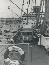 One of the IAEA's two mobile radioisotope laboratories being unloaded at port of Saigon (today Ho Chi Minh City).  4 March 1962. Please credit IAEA