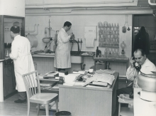 Laboratory at IAEA Headquarters in Vienna. Left to Right: Dr. Otto Suschny, Mr. Johannes Veselskyj and Professor Alexandre Sanielevici of the Division of Research and Laboratories.  2 February 1960. Please credit IAEA