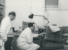 Professor Alexandre Sanielevici (left),  Dr. Erich Keroe (right), both of the Division of Research and Laboratories. 2 February 1960.  Please credit IAEA