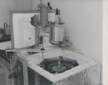 Calorimeter  built at the IAEA laboratory in Seibersdorf with precision of measurement +/- 0.5%.  February 1962. Please credit IAEA