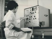 Daniella Harell, IAEA staff member, working on the multichannel analyser at the laboratory in Seibersdorf, near Vienna, Austria. April 1964. Please credit IAEA