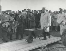William Sterling Cole, the first Director General of IAEA, pours the first load of concrete into the foundations of the new laboratory to inaugurate construction on 28 September 1959. The laboratory came into operation three years later. Please credit IAEA