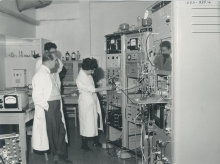 Staff from the Division of Research and Laboratories. Left, Prof Alexandre Sanielevici. Right,  Maria Chino. Background, Andre Gandy. February 1960. Please credit IAEA