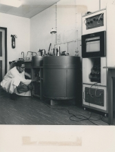 Automatic micro-calorimetric apparatus used to conduct studies on the contamination of the biosphere in the Standardization Section of the IAEA laboratory in Seibersdorf. August 1962.  Please credit IAEA
