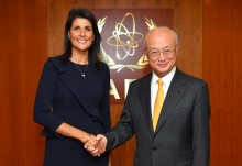 IAEA Director General Yukiya Amano met with Ambassador Nikki R. Haley, United States Permanent Representative to the United Nations, at the IAEA headquarters in Vienna, Austria on 23 August 2017.