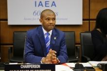 Chairman of the IAEA Board of Governors, Tebogo Seokolo of South Africa at the Board Meeting. IAEA, Vienna, Austria, 17 November 2016.