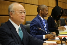 IAEA Director General Yukiya Amano delivers his introductory statement to the Board of Governors Meeting. IAEA, Vienna, Austria, 17 November 2016.
