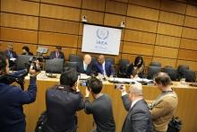 IAEA Director General Yukiya Amano and Chairman of Board of Governors,Tebogo Seokolo of South Africa at the Board Meeting, IAEA, Vienna, Austria, 17 November 2016.
