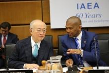 IAEA Director General Yukiya Amano and Chairman of Board of Governors Tebogo Seokolo of South Africa at the Board Meeting, IAEA, Vienna, Austria, 17 November 2016.