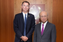 IAEA Director General Yukiya Amano met with the new  Foreign Secretary of the United Kingdom, the Rt. Hon Jeremy Hunt at the IAEA headquarters in Vienna, Austria, on 1 August 2018.