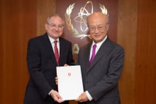 The new Resident Representative of Switzerland to the IAEA, Benno Laggner, presented his credentials to IAEA Director General Yukiya Amano at the IAEA headquarters in Vienna, Austria, on 1 August  2018.