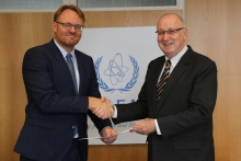 The new Resident Representative of  Denmark, René Dinesen (left), presented his credentials to Aldo Malavasi (right), IAEA Acting Director General and Head of the Department of Nuclear Sciences and Applications at the IAEA headquarters in Vienna, Austria, on 31 August 2018.