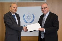 The new Resident Representative of Estonia, Toomas Kukk (left), presented his credentials to Aldo Malavasi (right), IAEA Acting Director General and Head of the Department of Nuclear Sciences and Applications at the IAEA headquarters in Vienna, Austria, on 4 September 2018.