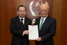 The new Resident Representative of Thailand, Songsak Saicheua, presented his credentials to IAEA Director General Yukiya Amano at the IAEA headquarters in Vienna, Austria on 24 April 2017.
