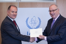 The new Resident Representative of Colombia to the IAEA, Miguel Camilo Ruiz Blanco, presented his credentials to Aldo Malavasi, IAEA Acting Director General, and Head of the Department of Nuclear Sciences and Applications at the IAEA headquarters in Vienna, Austria, on 6 September 2018.
