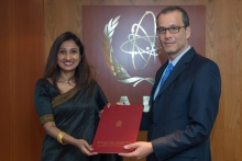 The new Resident Representative of Sri Lanka to the IAEA, HE Ms Saroja Sirisena, presented her credentials to Cornel Feruta, IAEA Acting Director General at the Agency headquarters in Vienna, Austria, on 23 August 2019