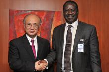 Visit of the Right Honourable Raila Amolo Odinga, Prime Minister of Kenya, to IAEA Director General Yukiya Amano, Vienna, Austria, 7 December 2009.