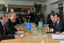 Visit of H.E. Mr. Kanat Saudabayev, Minister of Foreign Affairs of the Republic of Kazakhstan, to IAEA Director General Yukiya Amano, IAEA, Vienna, Austria, 15 January 2010.