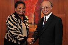 Visit of  Ms. Sandra Pierantozzi, Minister of State of Palau, to IAEA Director General Yukiya Amano, IAEA, Vienna, Austria, 16 February 2010.