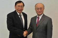 Visit of Mr. Alberto Gatmaitan Romulo, Secretary for Foreign Affairs of the Philippines, to IAEA Director General Yukiya Amano, IAEA, Vienna, Austria, 3 March 2010.