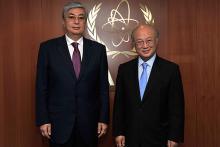 Mr. Kassym-Jomart Tokayev, Director General of United Nations Office at Geneva, met IAEA Director General Yukiya Amano at the Agency Headquarters, Vienna, Austria, 8 September 2011.