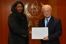 Presentation of credentials by the new Resident Representative of the Republic of Mali, Ms Thiam Diallo to IAEA Director General Yukiya Amano. IAEA, Vienna, Austria, 28 January 2014.