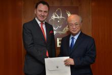 Presentation of credentials by the new Resident Representative of the former Yugoslav Republic of Macedonia, Mr Kire Ilioski, to IAEA Director General Yukiya Amano. IAEA, Vienna, Austria, 19 February 2014.