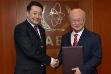 Presentation of credentials by the new Resident Representative of the Republic of Kazakhstan, Mr Kairat Sarybay, to IAEA Director General Yukiya Amano. IAEA, Vienna, Austria, 28 February 2014.