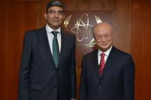 Presentation of credentials by the new Resident Representative of the Republic of India, Mr Rajiva Misra, to IAEA Director General Yukiya Amano. IAEA, Vienna, Austria, 28 February 2014