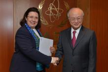 Presentation of credentials by the new Resident Representative of Greece, Ms Chryssoula Aliferi, to IAEA Director General Yukiya Amano. IAEA, Vienna, Austria, 16 April 2014.