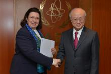Presentation of credentials by the new Resident Representative of Greece, Ms Chryssoula Aliferi, to IAEA Director General Yukiya Amano. IAEA, Vienna, Austria, 16 April 2014.