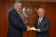 Presentation of credentials by the new Resident Representative of the Republic of Colombia,  Mr Jaime Alberto Cabal Sanclemente, to IAEA Director General Yukiya Amano. IAEA, Vienna, Austria, 25 April 2014.